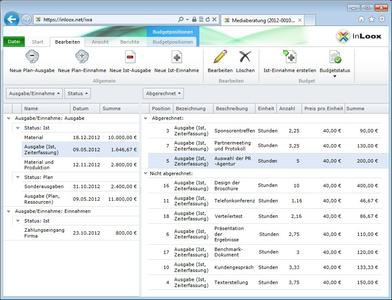 InLoox Web App Budgetierung