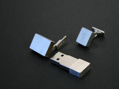 USB-Manschettenknöpfe aus Echtsilber