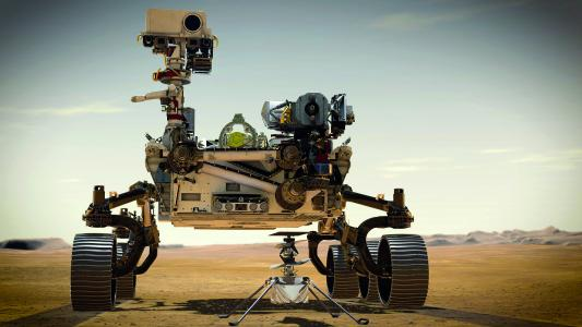 Marsrover Perseverance with helicopter (NASA/JPL-Caltech)