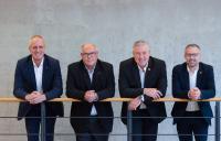 Geschäftsführer QUBUS Planung und Beratung Oberflächentechnik GmbH und IFO Institut für Oberflächentechnik GmbH (v.l. Christian Deyhle, Ulrich Mäule, Michael Müller, Marc Holz)
