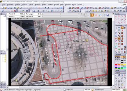 Eine Parkplatzfläche auf dem Messegelände wurde mittels DIG CAD Ing Aufmaß aufgemessen. Die Basis ist ein Luftbild.