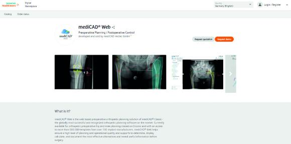 mediCAD Web accessible via the open app store of teamplay (Siemens Healthineers)