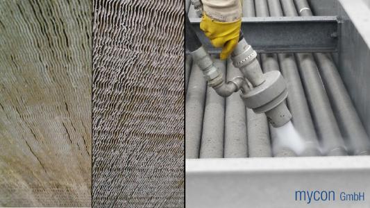 Left: Furred up finned heat exchanger before and after. Right: Cleaning spiral-finned tubes in a heat exchanger