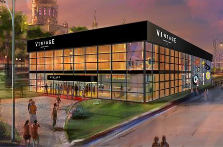 """Das """"Vintage Theatre"""" kann nahezu an jedem Ort aufgebaut werden. Die Konstruktion besteht aus einer mobile Eventhalle Palas. Sie ist das jüngste und innovativste Produkt der Losberger GmbH aus Fürfeld."""