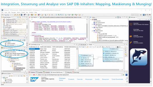 Die IRI-Softwareprodukte unterstützen alle HANA-Datenbanken mit JDBC- und ODBC-Treibern oder Flat-File-Extrakten und -Importen aus ihrer üblichen, kostenlosen Eclipse-Jobdesign-IDE (IRI Workbench)!