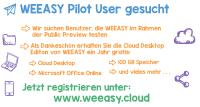 WEEA­SY Pi­lot-User ge­sucht