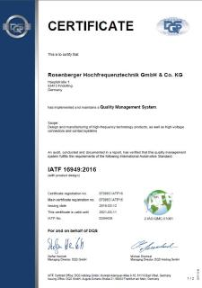 Rosenberger Certified by New Standard IATF 16949:2016