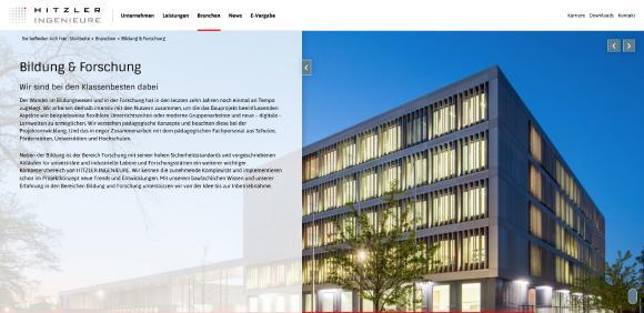 Die neue Homepage von HITZLER INGENIEURE setzt auf moderne Web-Optik und neueste User-Technik / Bild: HITZLER INGENIEURE