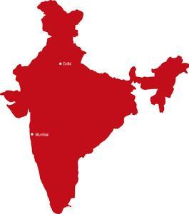 Karte Indien mit den Niederlassungen in Mumbai und Neu-Delhi