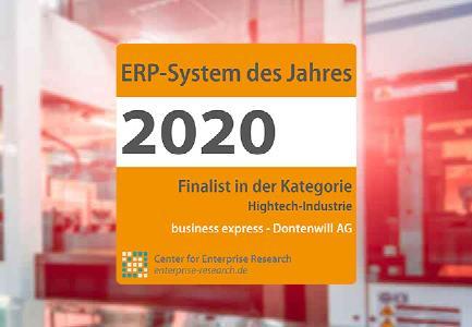 Finalisten Siegel als ERP-System des Jahres für business express von Dontenwill