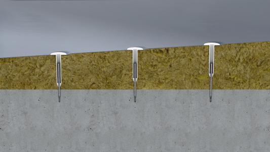 EJOT JBS-R/EcoTek: Justierbares Befestigungselement zur Sicherung von Dachbahnen mit Gefälledämmung auf Unterkonstruktionen aus Beton, Bilder: EJOT