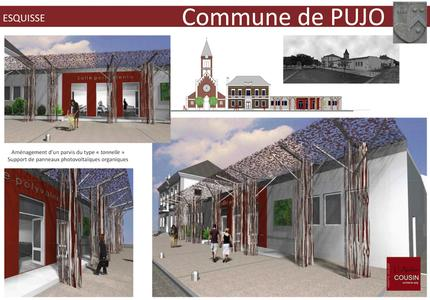 Sketch of the OPV walkway planned in the community of Pujo. Design by M. J.-C. Cousin of Atelier Cousin, Lourdes.