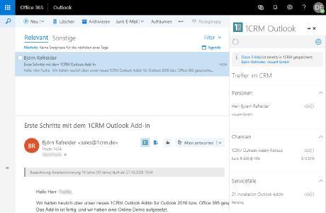 CRM Outlook Add-In entwickelt von der Digitalagentur visual4