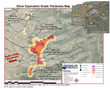 """Plan view map showing highlight drill intercepts over silver equivalent grade thickness (""""GT"""") contours for step-out drill holes SE21-027 to SE21-036"""