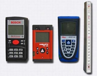 Die Laserentfernungsmesser von Bosch, Hilti und Leica mit Bluetooth-Schnittstelle