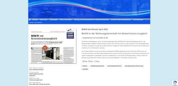 Ein BHKW mit Restemissionsausgleich wird zum BHKW des Monats April gekürt