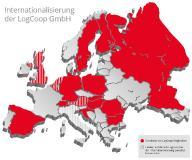 In zahlreichen europäischen Ländern sind die Mitglieder der LogCoop vertreten. Bei der weiteren Internationalisierung konzentriert sich die Kooperation auf die Benelux-Staaten, Großbritannien, Italien und Österreich. (Grafik: LogCoop)
