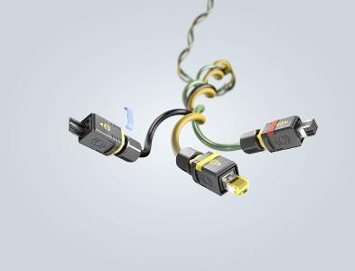Das modulare PushPull V4 Gehäuse nimmt Steckgesichter für alle Lebensadern der I4.0 auf – Data, Signal und Power