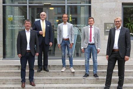 Die Vorstände von Hohenlohe Plus e.V. beider Vorstandssitzung in Crailsheim. V.l.n.r:OB Thilo Michler (Öhringen), OBUdoGlatthaar (Bad Mergentheim), OB Dr. Christoph Grimmer (Crailsheim) BM Stefan Neumann (Künzelsau)und OB Daniel Bullinger (Schwäbisch Hall)
