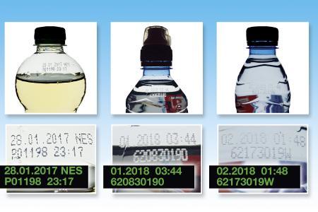 Abbildung 1: verschiedene Getränkeflaschen mit Continuous Inkjet Kennzeichnung