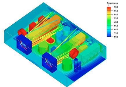 Thermische Simulation eines Netzgeräts.