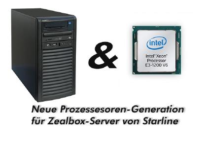 Der neue XEON-Prozessor E3-1220 v6 beschleunigt die soliden Zealbox-Server von Starline
