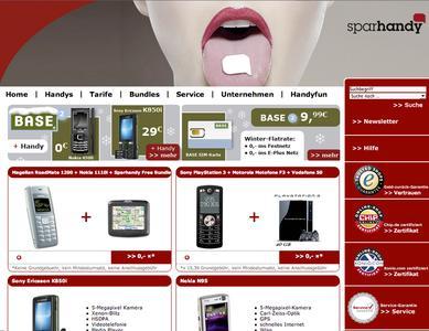 Screenshot Homepage sparhandy.de