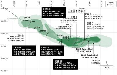 Abbildung 1 - Draufsicht auf Main Zone Nickelressource, Nickel-Kobaltsulfid-Projekt Crawford, Ontario