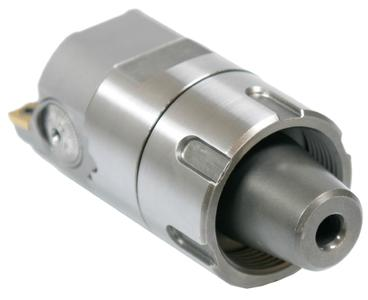 A world first: the Swiss Tools clamping nut for ER connections. The tool is easy to screw onto clamping devices, and it and the chuck cone behave together as a single unit. The resulting conical and planar connection is extremely rigid, thus ensuring high precision