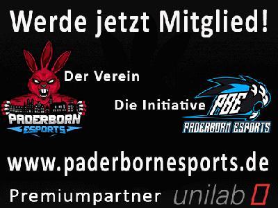 Paderborn E-Sports e.V und Studierendeninitiative Paderborn eSports bieten allen E-Sport Fans ab 14 Jahren in Paderborn eine Heimat.