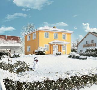 Mit einer gedämmten Fassade kommen Eigenheimbesitzer warm und günstig durch die kalte Jahreszeit. (Foto: Caparol Farben Lacke Bautenschutz)