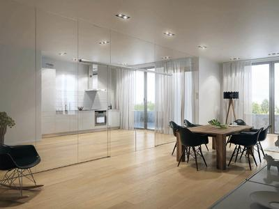 Discreet and linear look: the new sliding door system Levolan 120, sliding door leaves of up to 120 kg can be moved easily and effortlessly (Photos: GEZE GmbH)