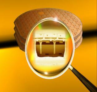 Aufgeschnittener 3D-Stapel eines elektronischen Systems (Quelle: Fraunhofer IZM München)