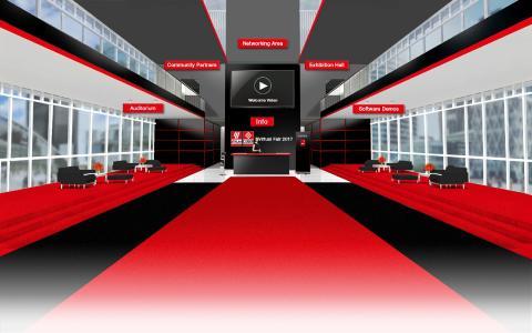 Blick in das Foyer der Eplan & Cideon Virtual Fair, die am 21. März zahlreiche Besucher in ihren Bann zog / Quelle: Eplan Software & Service GmbH & Co. KG