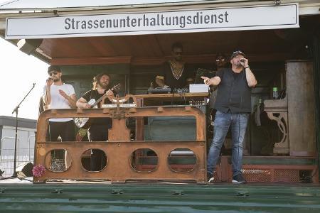 Der Strassenunterhaltungsdienst, powered by Söhne Mannheims, zu Gast beim Heidelberg iT-Sommerfest 2018. Foto: Ina Gäde