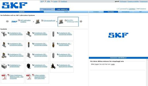 The SKF Lubrication Systems Germany AG electronic 3D CAD product catalog, based on CADENAS eCATALOGsolutions technology