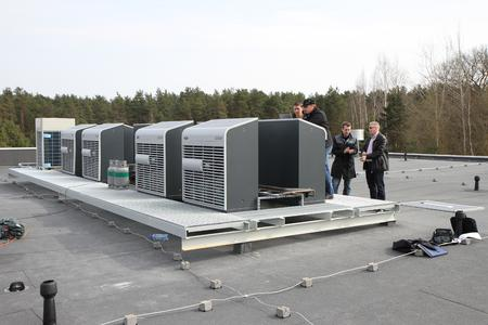 The nine air-cooled ECOSTAR condensing units are arranged in a space-saving configuration.