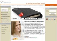 Startseite des neuen Online-Shops alphadress.