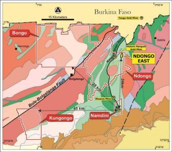 Abbildung 1: Konzessionsgebiete von Cardinal einschließlich der Projekte Bolgatanga und Namdini