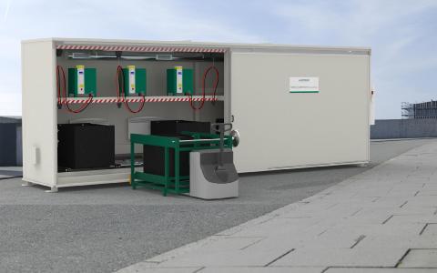 Outside in the box: HOPPECKE trak | systemizer powercube ist einzigartige Outdoor-Lade- und Wechselstation für Flurförderzeuge