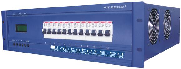 The AT2000+ from Lightstore.eu is a professional 12 x 3 kVA thyristor dimmer pack that retails for less than 650 GBP (1,000 EUR).