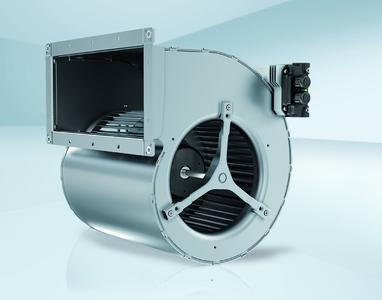 EC-Trommelläufer-Ventilator mit hoher Leistungsdichte für Torluftschleier.