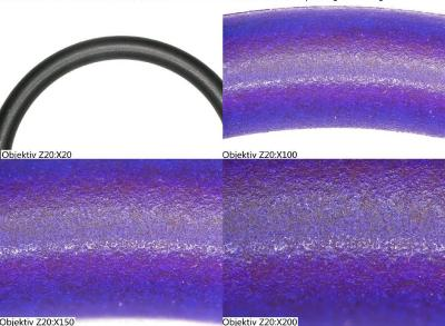 Prüfling mit Beschichtung OVE40SL nach verschärfter Prüfung unter UV Licht: Es ist nur eine geringe Abnutzung zu erkennen. /  © Bildquelle: OVE Plasmatec