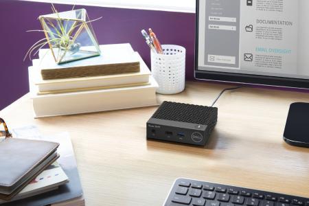 Kompakter Wyse 3040 Thin Client von Dell im Home Office