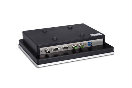 Für den mobilen Einsatz hat Syslogic ihren Projektiv Kapazitiv Touch Panel Computer mit M12-Steckern für LAN und Speisung ausgestattet. In Verbindung mit dem lüfterlosen Design eignen sich die Panel Computer für den Einsatz unter ständigen Vibrationen
