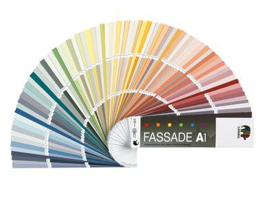 """Mit dem neuen Fächer""""Fassade A1"""" liegt man immer richtig.Maler,Stuckateure ,Architekten und Farbgestalter können Kunden damit jetzt sicher 500 Farbtöne zur Auswahl anbieten,die alle die derzeit höchstmögliche Farbtonbeständigkeit nach dem Fb-Code aufweisen"""