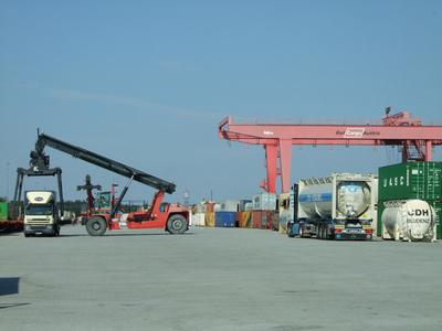 Containers handled using reach stackers and gantry cranes at the Rail Cargo Austria's Wels intermodal terminal – a junction for intermodal road and rail transport in Upper Austria