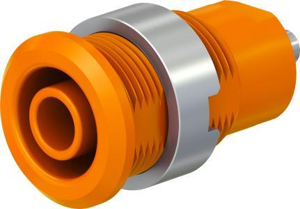 Neue Buchsen mit Verdrehschutz und mit V0-klassifiziertem Material. Jetzt auch in orange für Anwendungen in der Elektromobilität