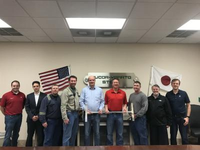 From left to right: Austin Pitzer, Controller, NYS; Waldemar Vogel, Sales Engineer, SMS group; Jason Ciepiela, Mill Maintenance Supervisor, NYS; Chris Ziegler, Roll Shop Supervisor, NYS; Thomas Maßmann, Vice President Section and Billet Mills, SMS group; Thad Solomon, Vice President and General Manager, NYS; Jim Shelton, Rolling Mill Manager, NYS; Mario Fabro, Long Product Sales Manager, SMS group and Dirk Köhler, E&A Process Engineer, SMS group