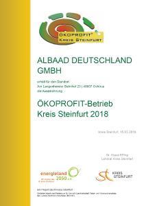 Schon lange bemüht sich Albaad darum, seine Öko-Effizienz zu steigern. Bereits im Jahr 2018 wurde das Unternehmen vom Kreis Steinfurt als Ökoprofit-Betrieb ausgezeichnet.